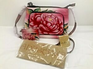 Anna by Anuschka Cross-body Purse Adjustable Strap Floral Pink Red Easter Gift