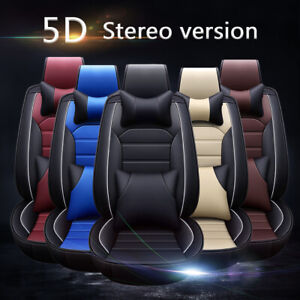 Deluxe Leather Universal Car Seat Cover 5 Seat Front Rear Full Set Waterproof