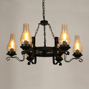 Vintage Black Wagon Wheel 36-light Pendant Fixture Chimney Glass Chandelier E26