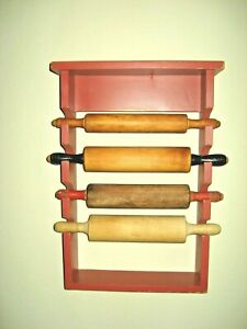 Handmade Wooden Wall Rolling Pin Holder w4 Vintage Rolling Pins Farmhouse Decor