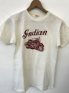 VTG 50s 1950s Champion Running Man Indian Motorcycle Chief Print T Shirt Harley
