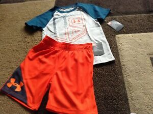 Boys under armour Gray short sleeve tee orange shorts outfit size 4(NWT)