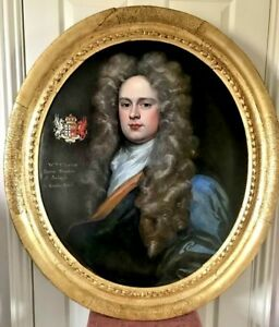 Portrait of William Clayton c. 1710 England Charming 18th Century Oil Painting