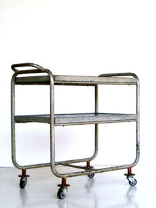 1930s Bauhaus Industrial Design Bar Cart Serving Trolley