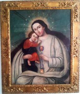 Our Lady of La Merced of the Quito School from early 17th / Signature