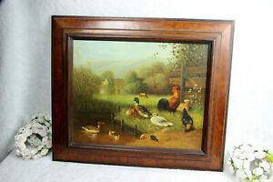 Antique French oil canvas painting chicken rooster ducks  water farm cow signed