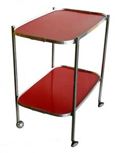 1950s Italian MidCentury design Vintage Red Formica Bar Cart Serving Trolley