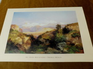THOMAS MORAN 'BIG HORN MOUNTAINS' LITHO PRINT PORTAL 24X36