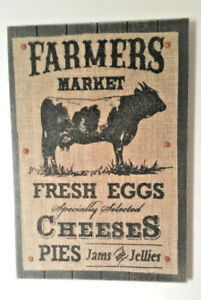 Barnyard Cow Farmers Market Country Kitchen Burlap Wood Wall Art Plaque