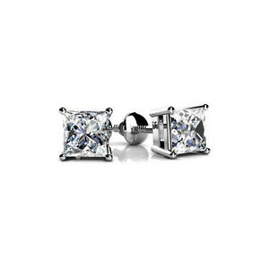 NEW 1.70 CT Lady's Princess Cut in White Platinum Diamond Stud Earrings FVS-1