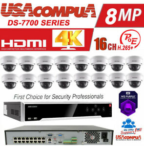 Hikvision NVR KIT 16CH POE Security System  4TB HDD  4MP 16 CAMERA Dome