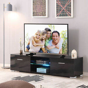 Black 63'' High Gloss TV Stand Unit Cabinet wLED Shelf 2 Drawers Remote Control