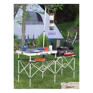 Camping Table Folding Outdoor Portable Metal Kitchen Tailgating Coleman New