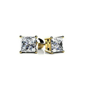 New 1.10 CT Lady's Princess Cut in White Platinum Diamond Stud Earrings FVS-1