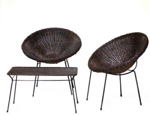 1950s Italian Midcentury Modern Design Garden Wicker Armchairs Tables