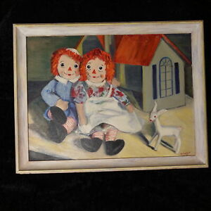 Vintage 1950s RAGGEDY ANN and ANDY Original Framed Painting Art Artist Signed $298.00