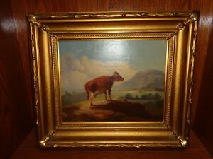 Antique 19th. Francis D. Devlan Painting of a Cow Listed Artist with Provenance