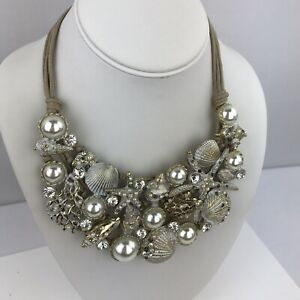 St. Thomas Statement Bib Rhinestone Seashell White Beige Cord Gold Tone Necklace