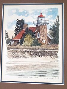 Lighthouse Painting T P Nagle Little Traverse Light watercolor ink Michigan $193.20