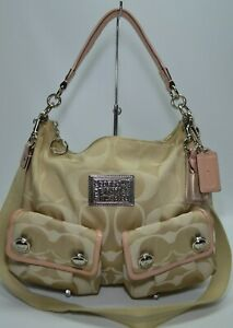 Coach Poppy Beige Signature Light Pink Patent Leather Trim Hobo Bag 14570