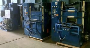 BANK OF (3) 100 TON WABASH 4 POST HYDRAULIC MOLDING PLATEN VACUUM PRESSES