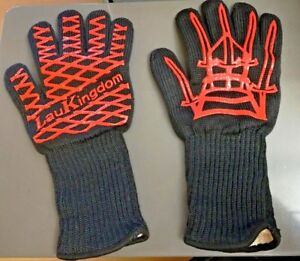 Lau Kingdom BBQ Grilling Cooking Gloves Large Red Black Safety Textured Grip
