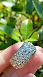 2.50 ct Diamond Wide Pave Dome Ring in 18k White Gold