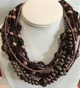 Stephen Dweck Multi-strand Smoky Quartz Pearl Bronze Necklace Nwt $695 19 Inches
