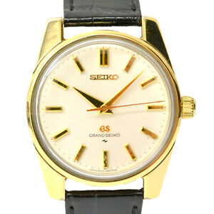 Authentic Seiko Cap Gold 44GS Wrist Watch Men Hand Wound Silver Bold Black