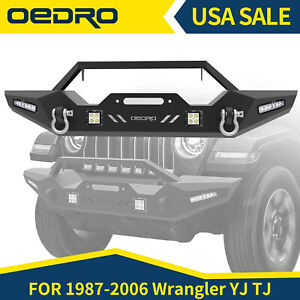 OEDRO For 87-06 Jeep Wrangler YJ TJ Front Bumper Winch Plate&Built + Led Light