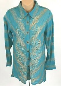Soft Surroundings Tunic Top XL Embroidered Beaded Turquoise Blue Button Front
