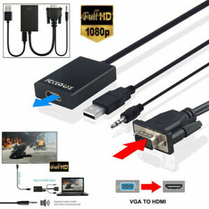 VGA Male To HDMI Out 1080P HD+ Audio TV AVHDTV Video Cable Converter Adapter US