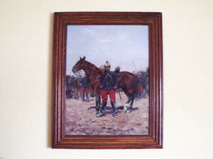 Antique Victorian Oil On Canvas Military Oil Painting of Soldier French Lancers $2400.00