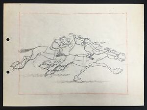 Walt Disney's Original Production Layout Drawing from The Steeple Chase 1933..