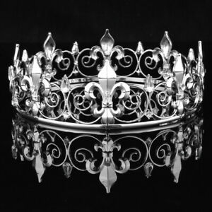Men's Imperial Medieval Fleur De Lis King Crown Crystal Silver Plated Prom Party