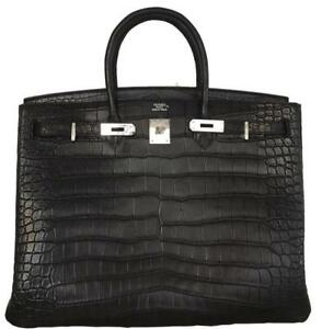 Hermes Birkin Black Noir size 40 Matte Porosus Crocodile Leather PHW New
