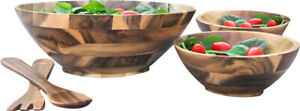 Handmade Acacia 5 Piece Wood Salad Bowl Set