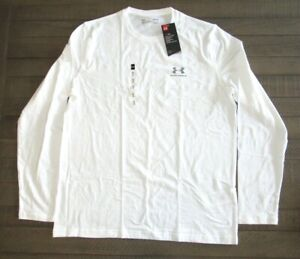 Under Armour Mens Long Sleeve Charged Cotton T Shirt 1289909 White Sm 3xl $19.99
