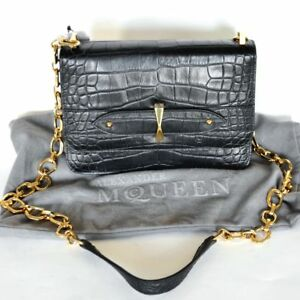 Alexander McQueen New Authentic Designer Evening Shoulder Handbag Bag black