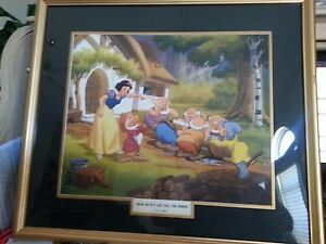 Disney Snow White & Seven Dwarfs Lithograph 1940's Rare Vintage Framed Beautiful