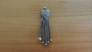 Antique Sterling Silver Albertina Heart Tassel Chased Charm Fob Ball Repaired