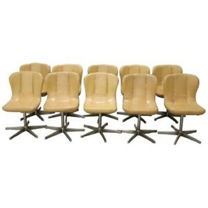 20th Century Italian Design Chromed Metal and Leather Set of 10 Armchairs 1960s