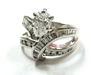 One of a Kind Solid 10K White Gold Pear  Baguette Diamond Engagement Ring sz 7
