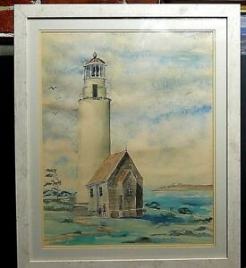 Fantastic 20th Century Original Watercolor Lighthouse Signed GAST WOW $151.60
