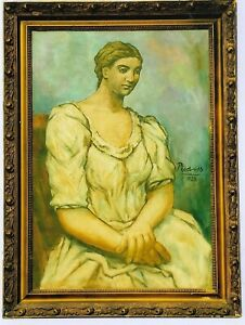 PORTRAIT of a WOMAN SEATED 1922-Pablo Picasso Painting Signed *Picasso* ORIGINAL