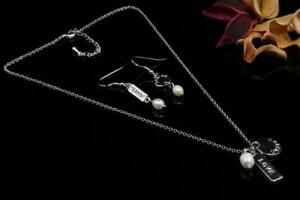 FW Pearl Rectangle Round Pendant Earrings Necklace Set Valentine's day gift N447