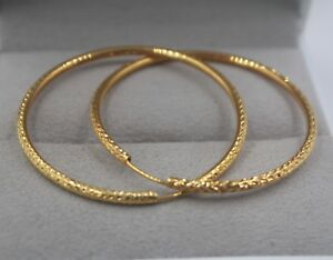 AU750 Pure 18K Yellow Gold Hoop Perfect Design Women Carved Big Earrings  4.1g