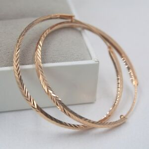 Real AU750 Pure 18K Rose Gold Hoop New Design Women Carved Big Earrings  5.2g