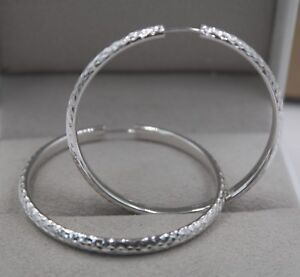 AU750 Pure 18K White Gold Hoop Men Women Fashion Carved Big Earrings  6.7g