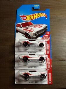 HOT WHEELS LOT (3)  new 2017 68 CHEVY NOVA RED EDITION EXCLUSIVE